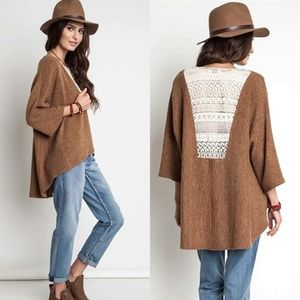 UMGEE Tan Textured 3/4 Sleeve Knit Lace Cardigan